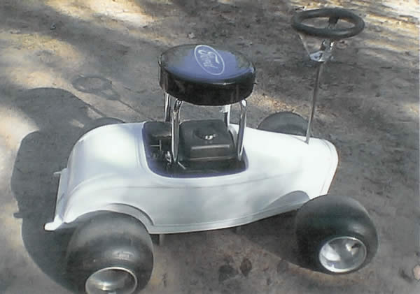 Photo of a gasoline powered bar stool with '32 body.